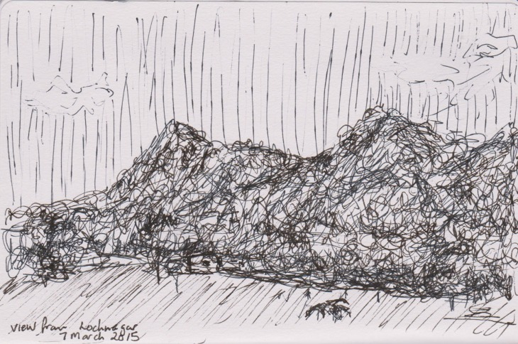 The view to the mountain, near Branxton, NSW, ball point pen, 7 March 2015point pen