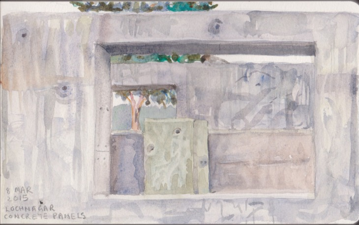 Concrete panels, watercolour 8 March 2015