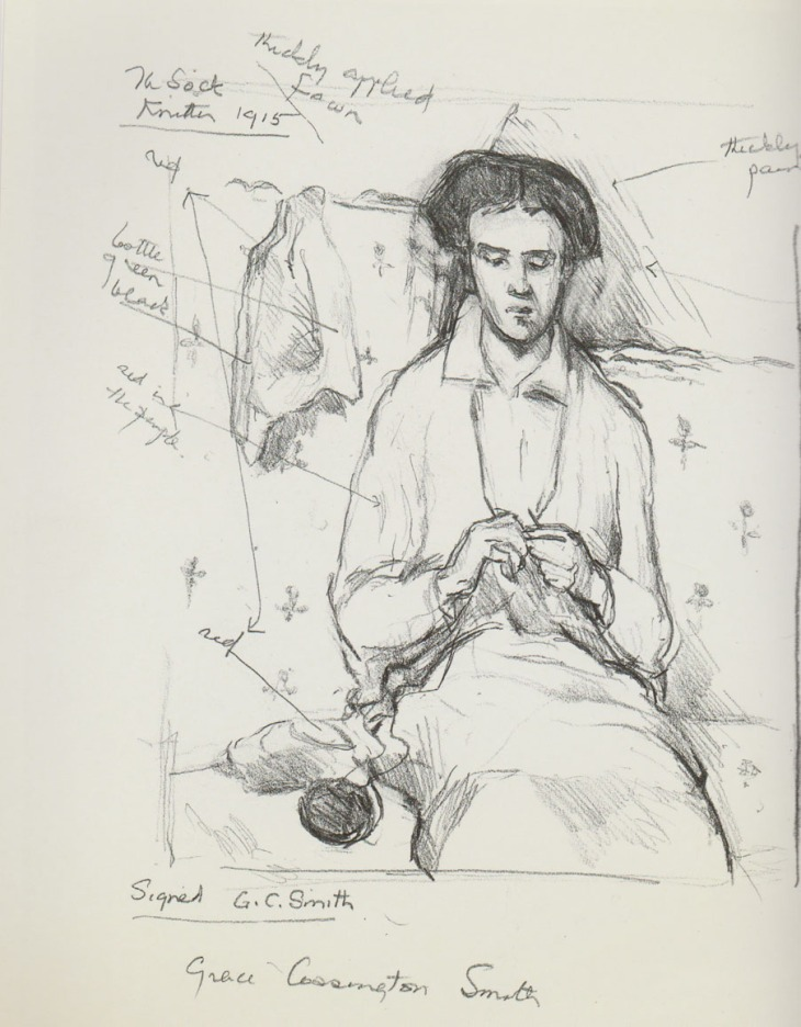 Betty Churcher's drawing of The Sock Knitter by Grace Cossington Smith, 1915 in the collection of the Art Gallery of New South Wales