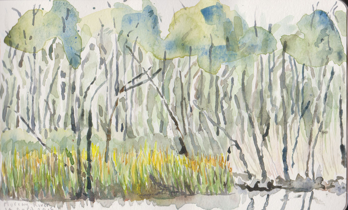 Across from our home mooring, scrubby trees, saplings and reeds, watercolour, 14 April 2015