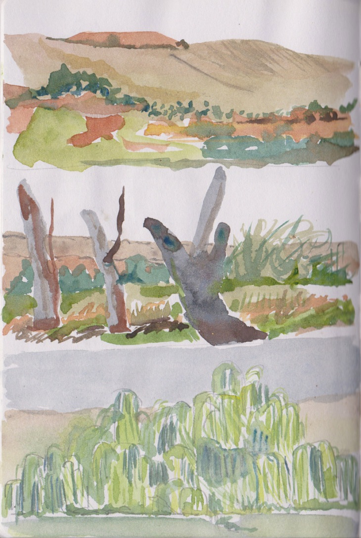 Images of the river in passing, graphite and watercolour, 14-16 April 2015
