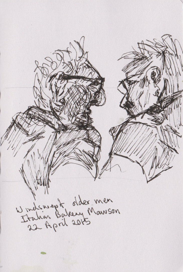 Two old men chatting, pen and ink, 22 April 2015