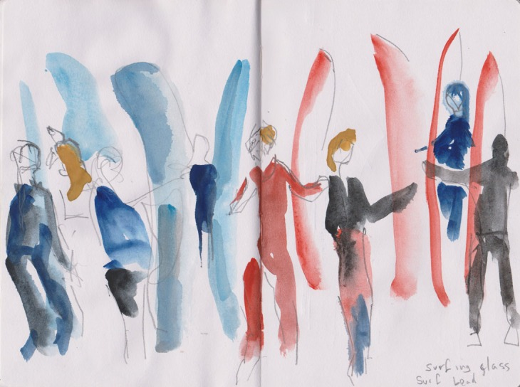 High school students waiting to start their surfing lesson, watercolour and graphite, 27 February 2015