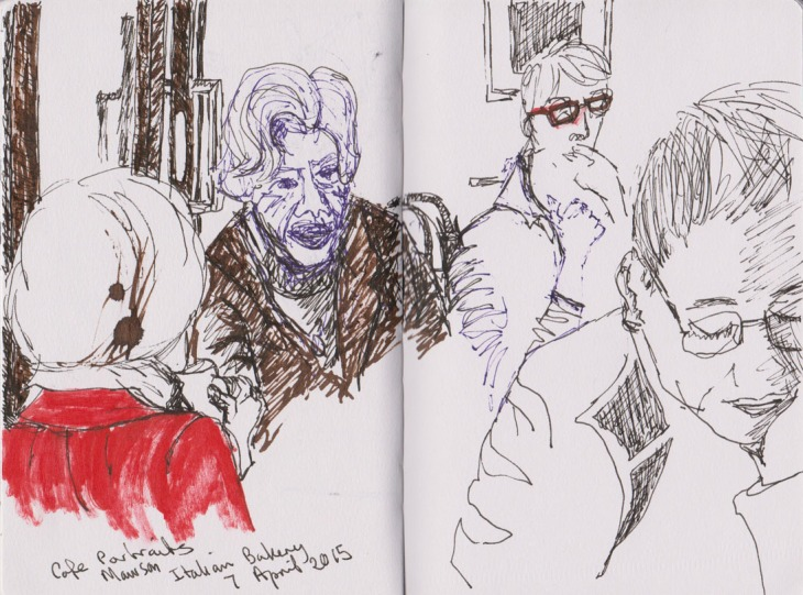 Patrons of the Italian bakery, pen and ink, 7 April 2015