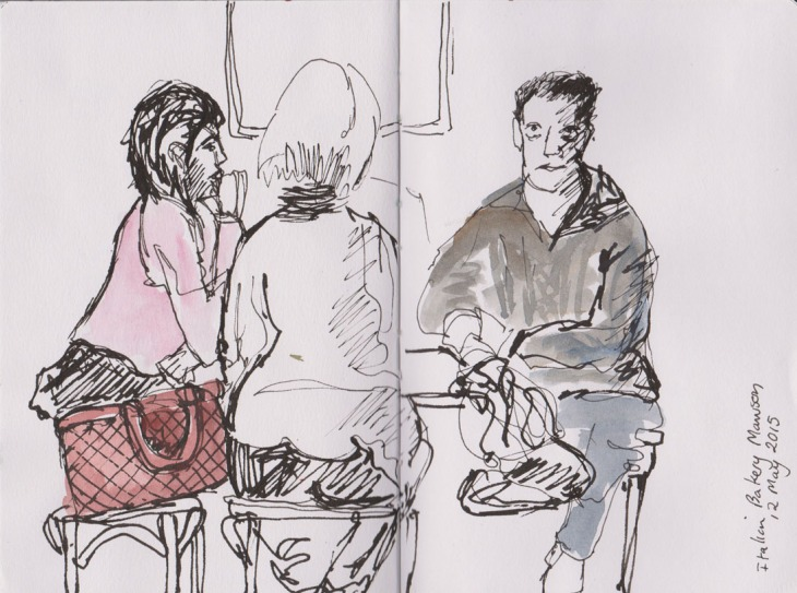 Coffee drinkers at the Italian Bakery, pen and ink and watercolour, 12 May 2015
