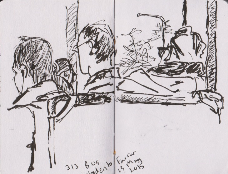 Every seat taken, pen and ink, 13 May 2013
