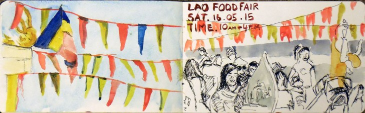Two views of the flags and people at the Lao Food Fair, watercolour, 16 May 2015