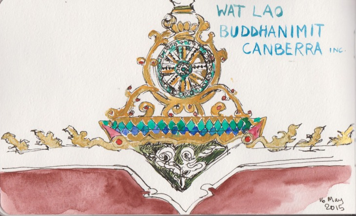 Decorations on the roofline of the Lao Buddhist Temple, watercolour and gouache, 16 May 2015
