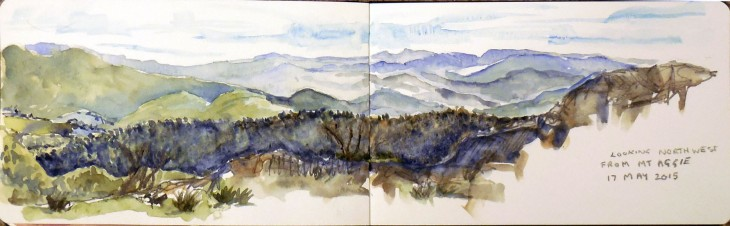 The view to the northwest from Mt Aggie, watercolour and graphite, 17 May 2015