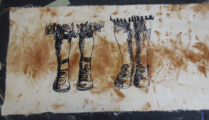 Dye screen print onto plant dyed cloth, 20 May 2015