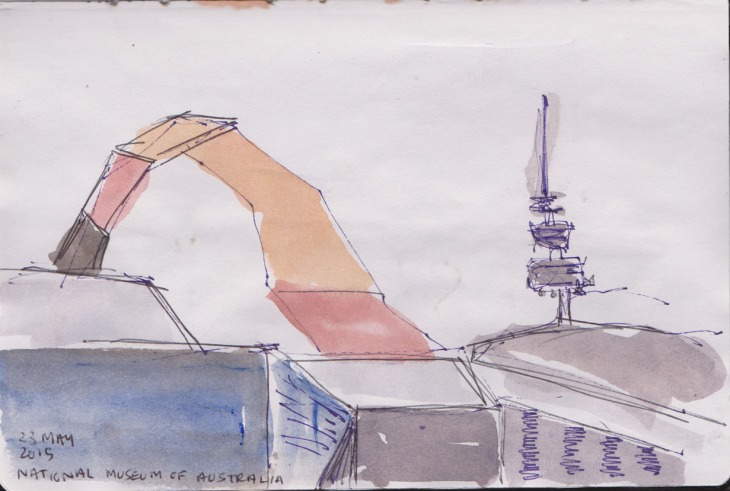 The Loop and Black Mountain Tower, watercolour, pen and ink and graphite, 23 May 2015