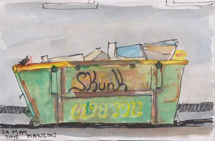 Garbage skip, 24 May 2015, watercolour and Copic marker