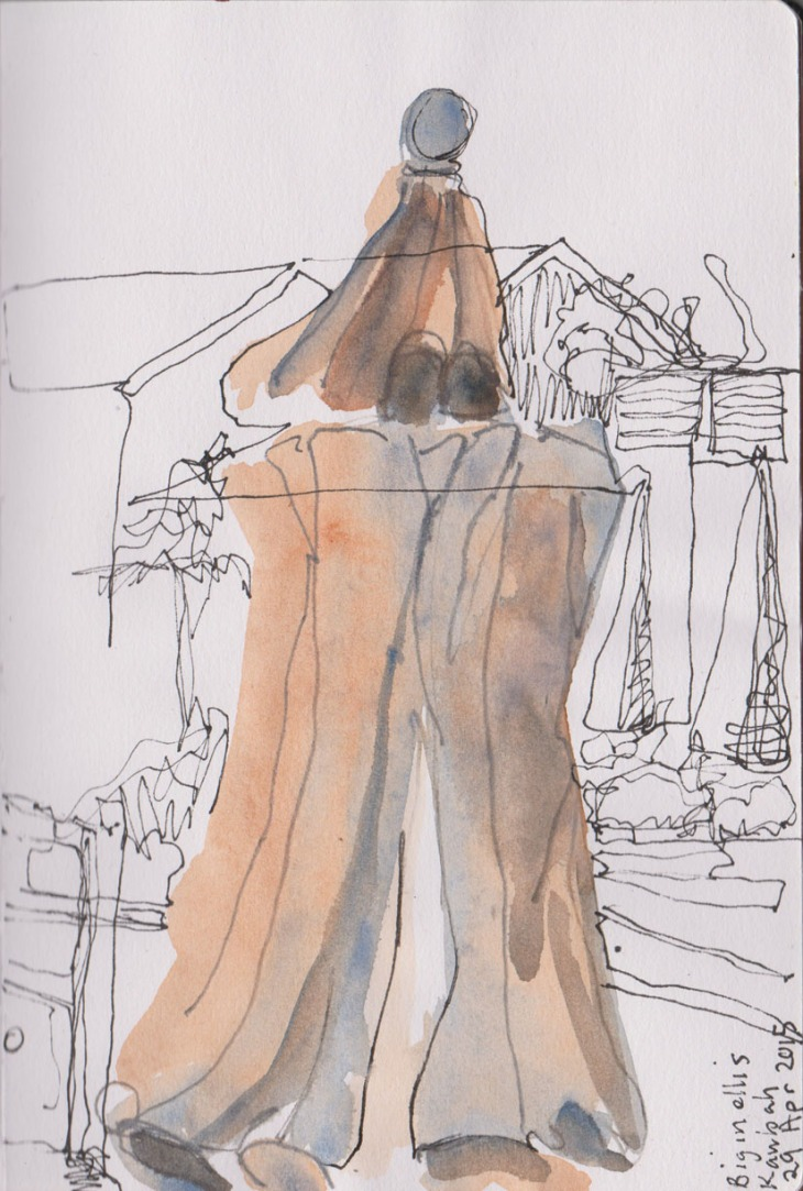 Umbrella, watercolour, pen and ink, 29 April 2015