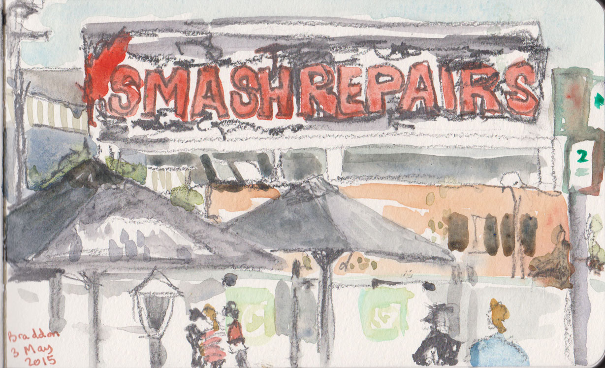 Old Sign, Lonsdale St Braddon, graphite and watercolour, 3 May 2015