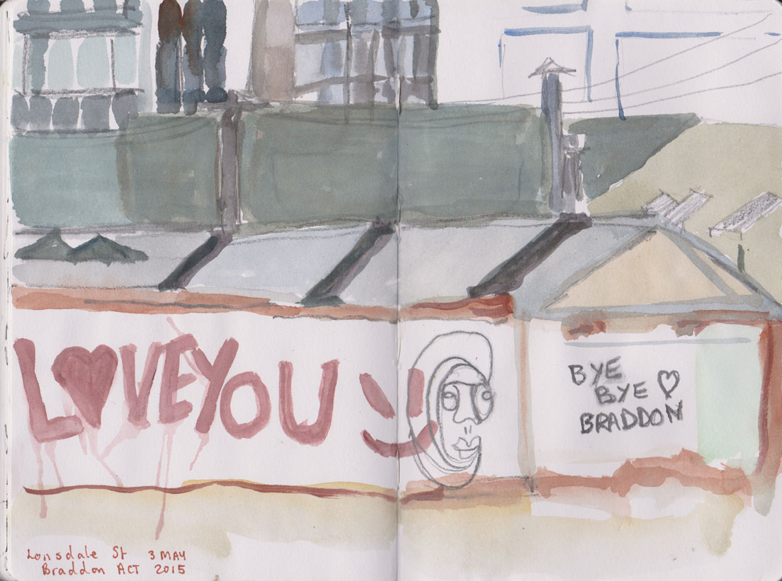 Grafitti, Lonsdale St, Braddon, watercolour and graphite