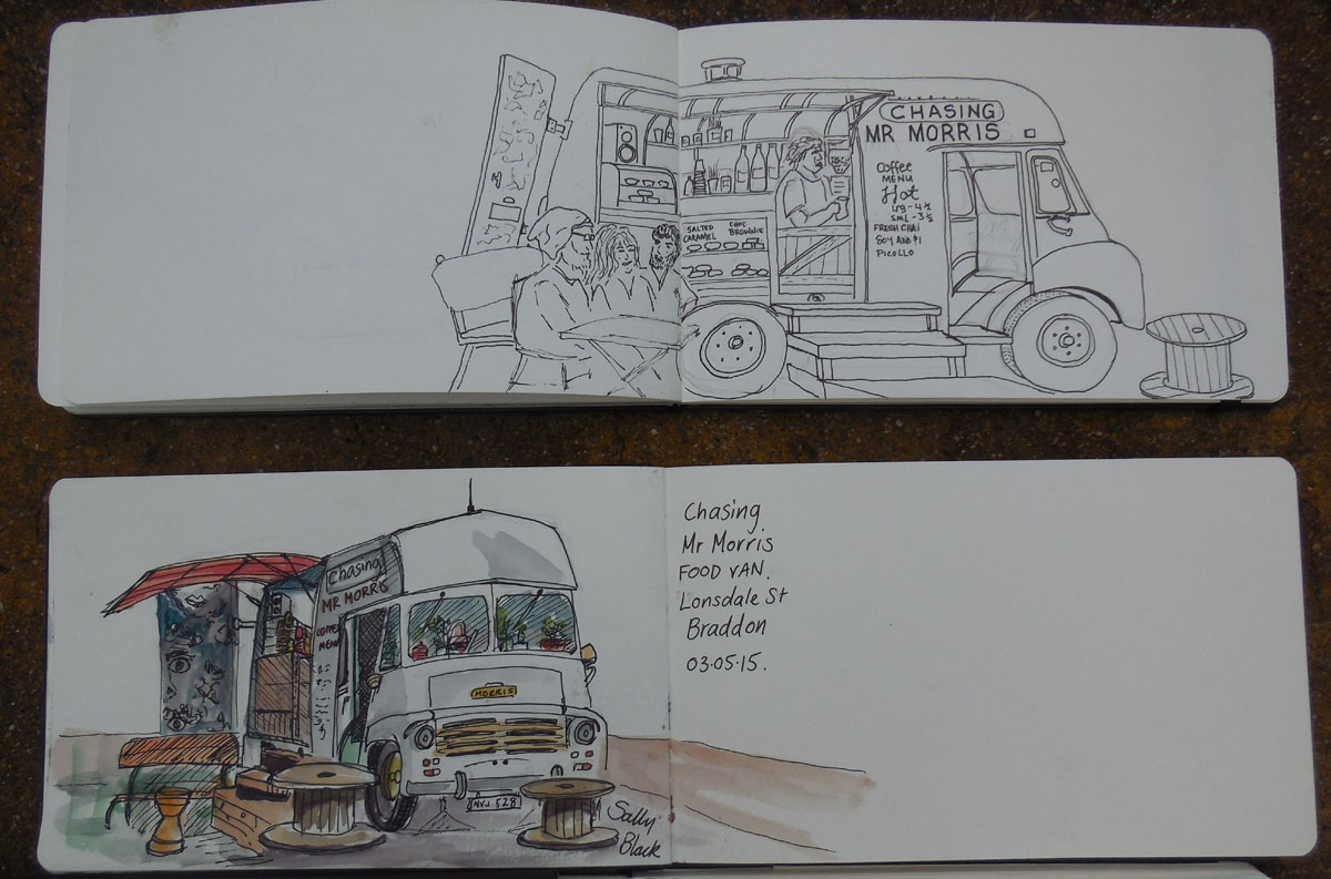 Chasing Mr Morris, food van in Braddon, pen and ink and watercolours, 3 May 2015