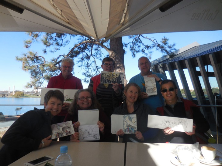 Sketchers united at the National Museum of Australia, 23 May 2015