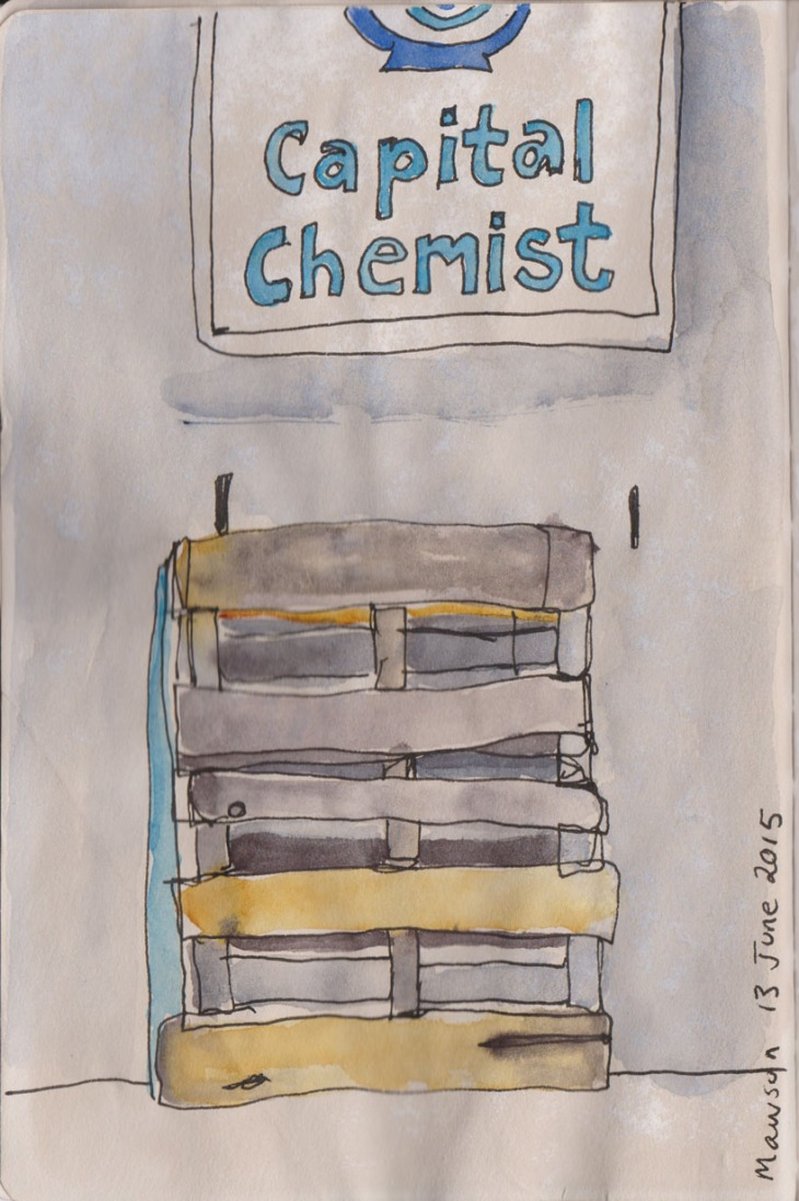 Chemist sign and pallet, watercolour, pen and ink, 13 June 2015