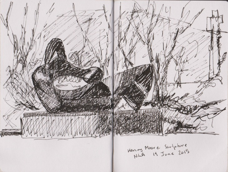 Henry Moore, 1969, Two piece reclining figure, no. 9, outside the National Library of Australia, pen and ink, 19 June 2015