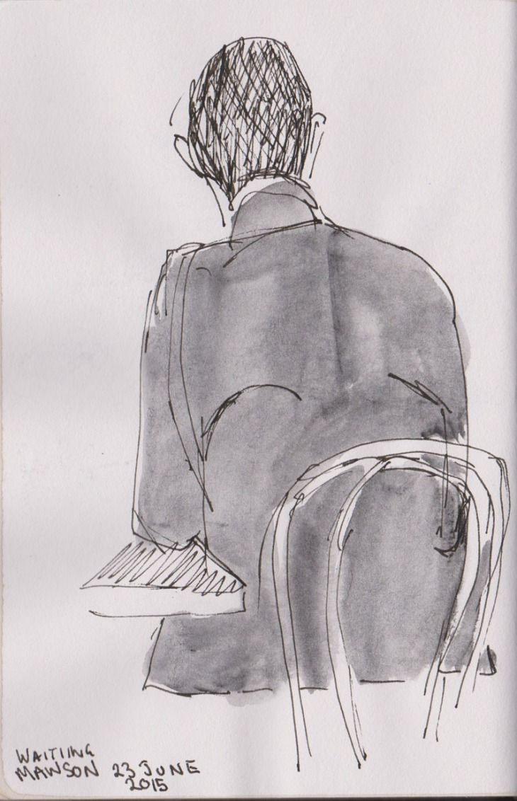 Seated man, pen, ink and wash, 23 June 2015
