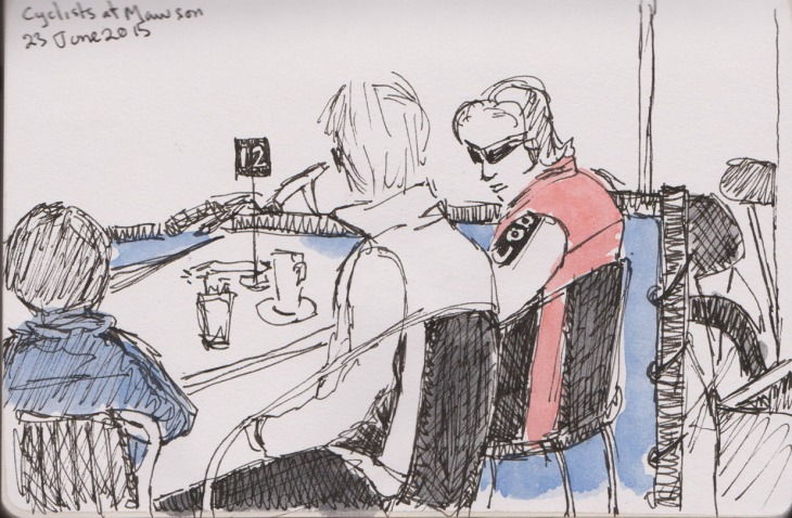 Cyclists, pen and ink and wash, 23 June 2015