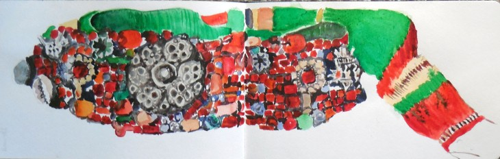 Belt with silver and coral, watercolour and graphite , 29 May 2015
