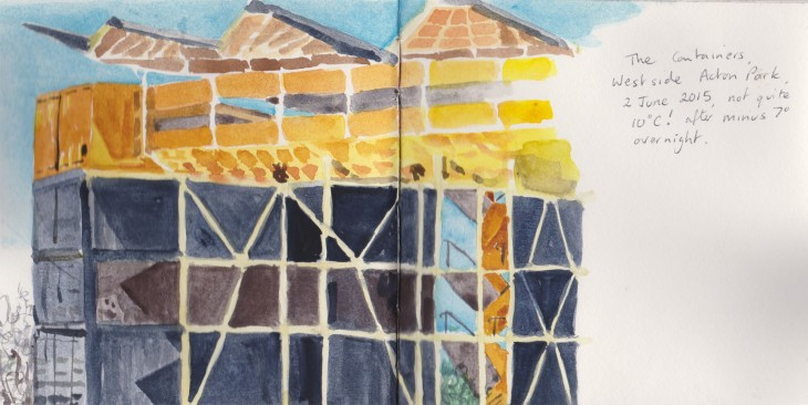 The big container stack at Westside at Acton, watercolour, 2 June 2015