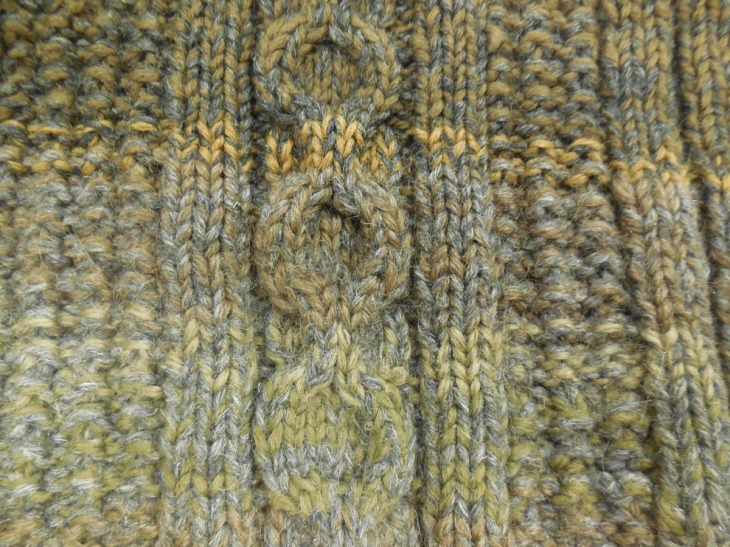 Cable and Broken Rib stitch from the front of the jumper.