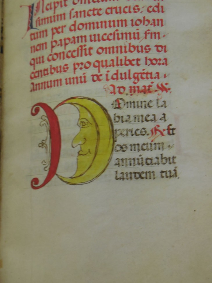 The man in the moon, addition to a capital letter, Mantua 15th cent.