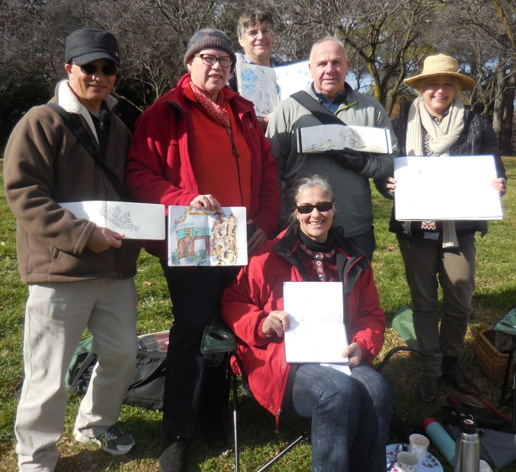 Some of the hardy band that came along for the June Canberra Sketchers Group outing, 7 June 2015