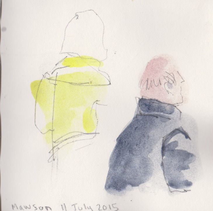 Two people , quick sketch, watercolour and graphite, 11 July 2015