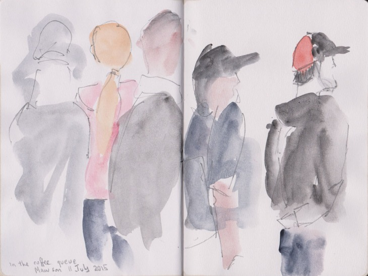 The coffee queue, watercolour and grapjite, 11 July 2015