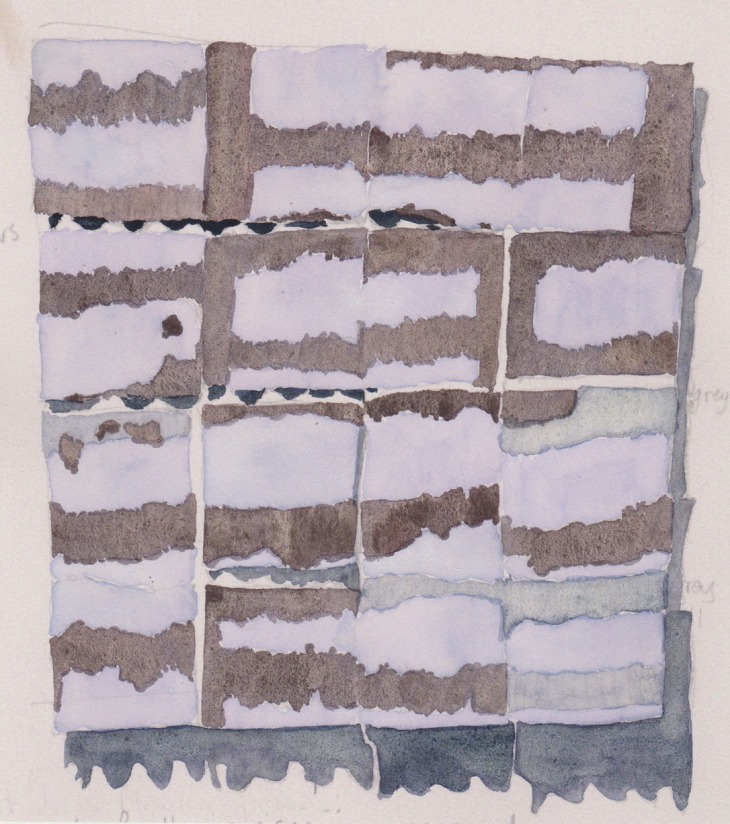 Rosalie Gascoigne's High Country 1999, painted corrugated iron panels on wood, 134 x 121 cm, watercolour on photocopy
