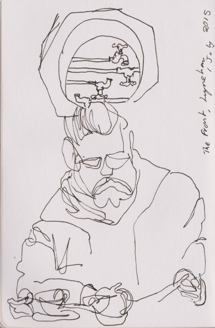 reading Man, pen and ink, 1 July 2015
