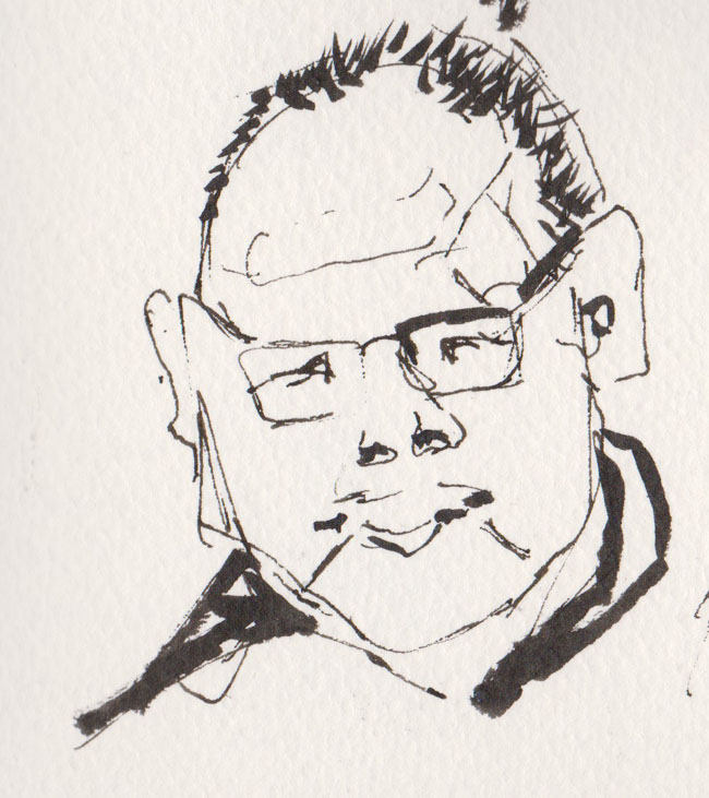 Shop owner, Albert Mall, 23 July 2015, pen and ink and brush pen