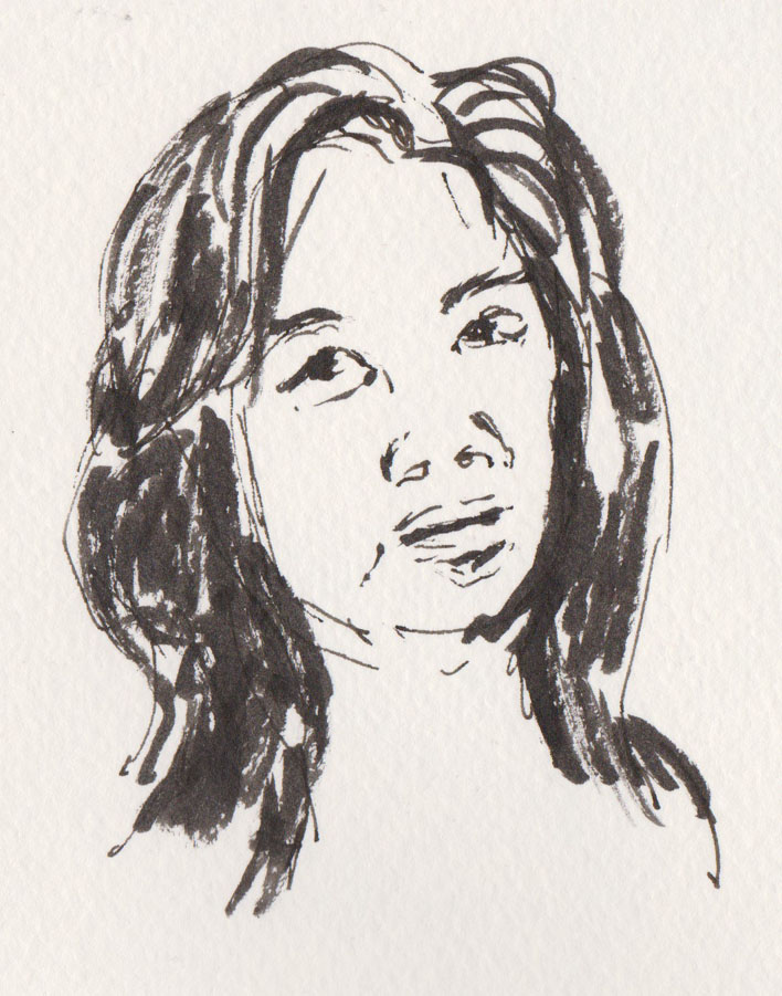 Shop owner, Albert mall, pen and ink and brush pen, 23 July 2015