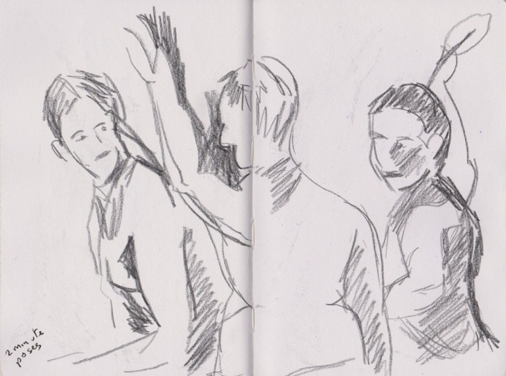 Three two minute poses, graphite, 2 July 2015