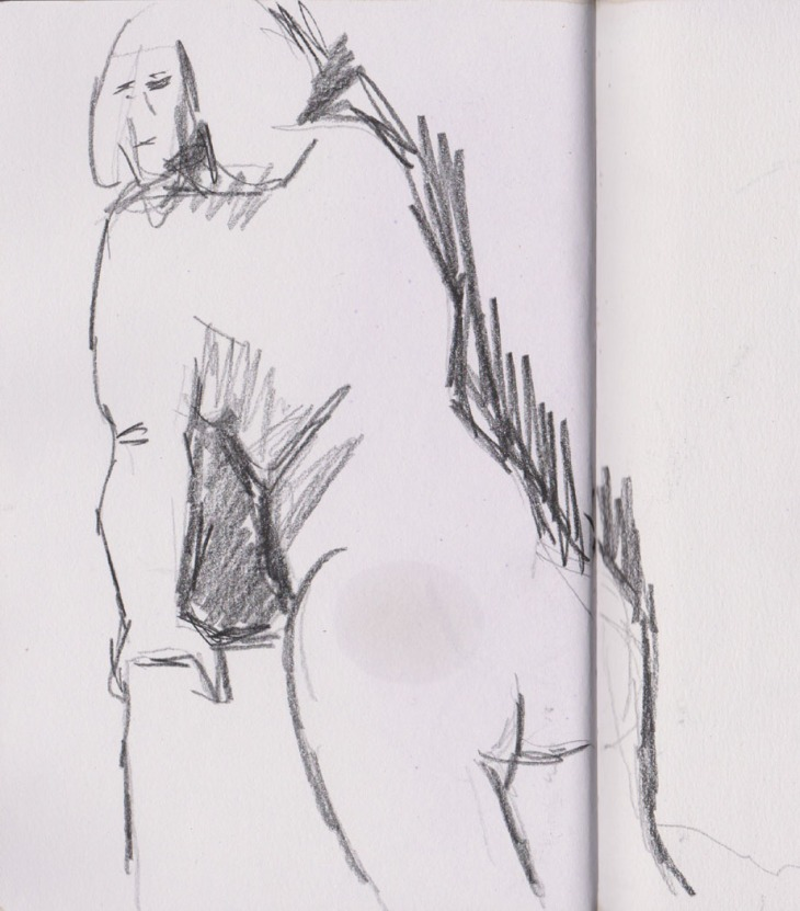 Five minute pose, graphite, 2 July 2015