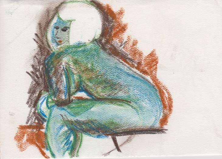 The Blue Woman, chalk pastel, 2 July 2015