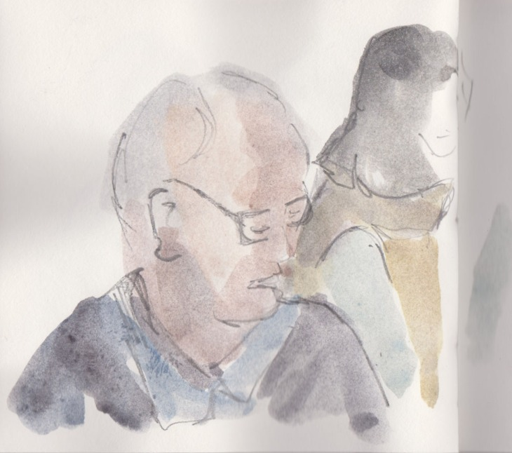 Man reading, watercolour and graphite, 27 June 2015