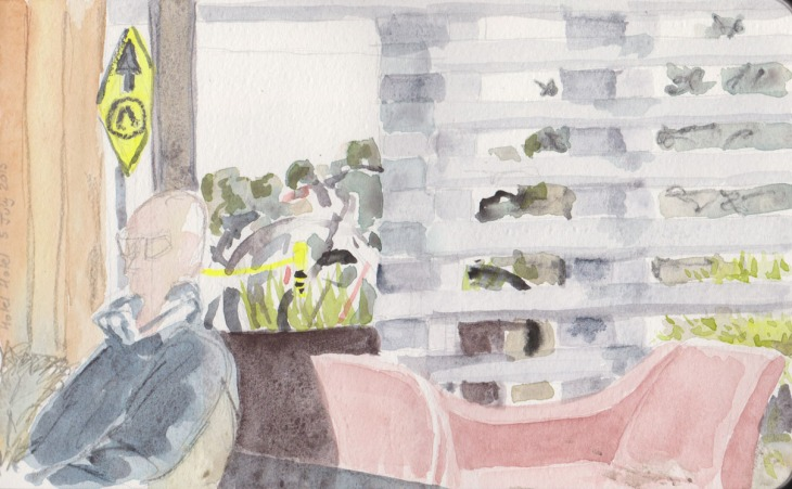 Looking out to the cold, watercolour, 5 July 2015