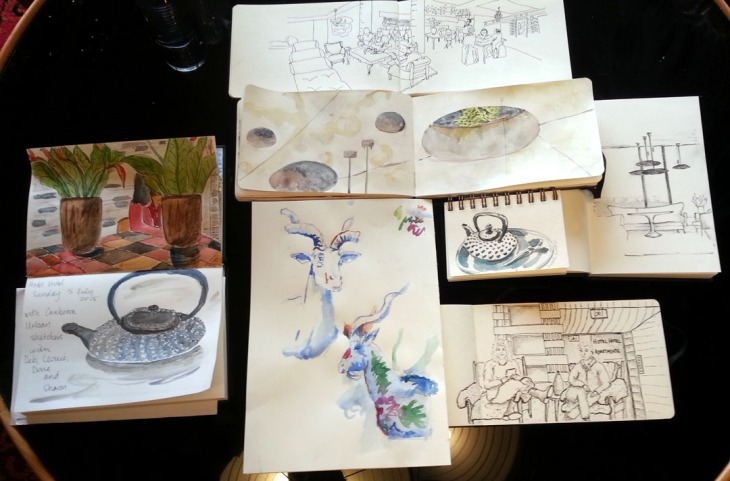 Some of the mornings output, Canberra Sketchers Group, 5 July 2015