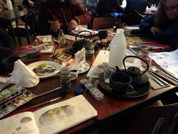 Watercolours amongst the coffees