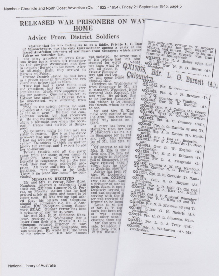 RELEASED WAR PRISONERS ON WAY HOME. (1945, September 21). Nambour Chronicle and North Coast Advertiser (Qld. : 1922 - 1954), p. 5. Retrieved July 9, 2015, from http://nla.gov.au/nla.news-article78519034