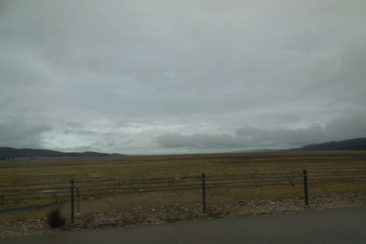 Looking eastwards across the dry bed of Lake George