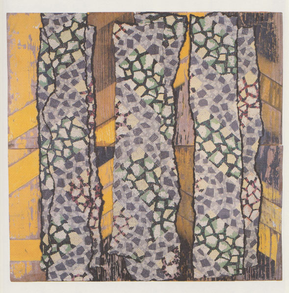 Poplars 19, 1996-97, Rosalie Gascoigne, 60 x 62 cm, linoleum on wood with retro-reflective strip, collection of Tarra Warra Museum of Art