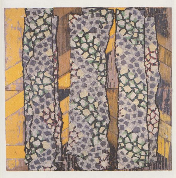 Poplars 19, 1996-97, Rosalie Gascoigne, 60 x 62 cm, linoleum on wood with retro-reflective strip, collection of Tarra Warra Museum of Art