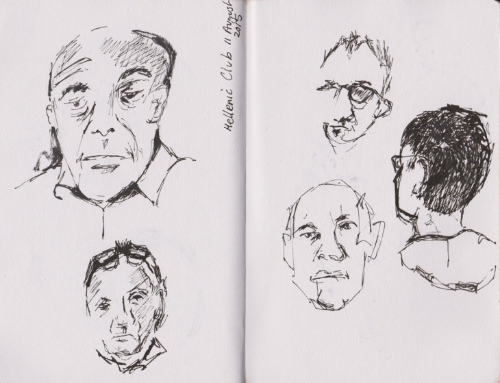 Some faces at last week's pub quiz, pen and ink and brush pen, 11 August 2015