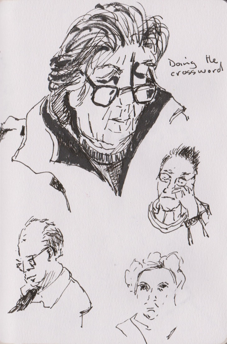Faces at a coffee shop, pen and ink and brush pen, 14 August 2015
