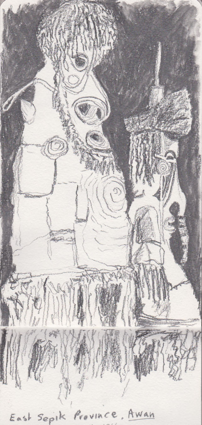 Two awan (spirit) costumes, East Sepik River, before 1916 collected by Captain Walter Balfour Ogilvy, from the collection of the Museum of Victoria. Water soluble graphite